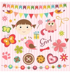 Scrapbook baby girl set vector image vector image