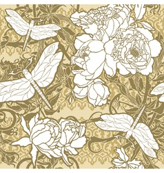 Seamless pattern with flowers roses and dragonflie vector image