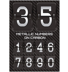 set of metallic numbers on carbon background vector image vector image