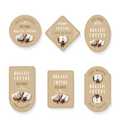 set of tags for cotton manufacture vector image