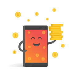 Smartphone concept of money earnings a lot of vector