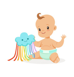Sweet smiling baby in a diaper playing with toy vector
