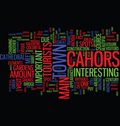 The colorful cahors text background word cloud vector