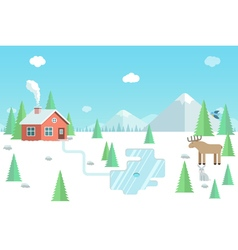 Winter landscape with wild animals forest house vector