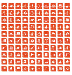 100 tea cup icons set grunge orange vector