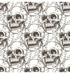 Seamless pattern with skull and smoke vector image