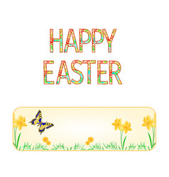 Banner happy easter spring flowers narcissus vector