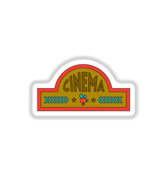 in paper sticker style cinema vector image