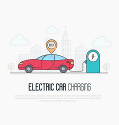 Electric red car with charging battery pointer vector