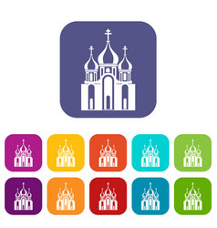 Church building icons set vector