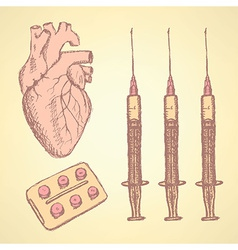 Sketch syringe pills human heart vector
