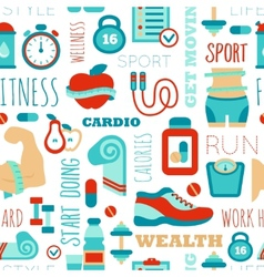 Fitness seamless patterns with sport elements and vector