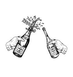 Bottle of champagne and bottle of wine in hands vector