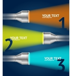 Pocket torch light and text option banner vector