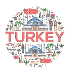 Country turkey travel vacation guide of goods vector