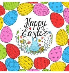 Template card with easter eggs and hare vector