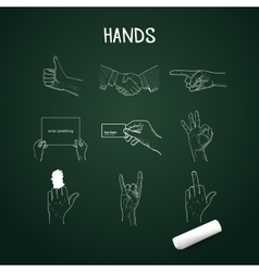 Hand drawn hands with chalk on board vector