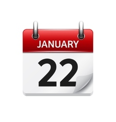 January 22 flat daily calendar icon date vector
