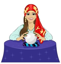 Fortune teller woman reading future vector