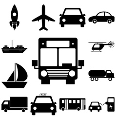 Transport sign set flat style icons illuatration vector