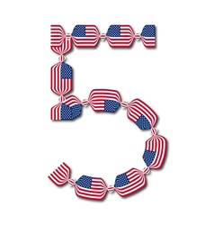 Number 5 made of USA flags in form of candies vector image
