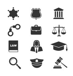 Justice law police icons vector