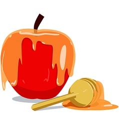 Apple and honey for rosh hashanah vector