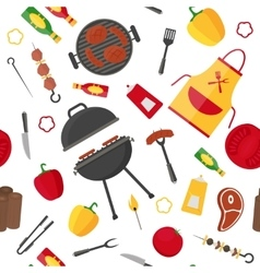 Barbecue and grill background pattern vector
