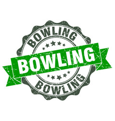 Bowling stamp sign seal vector