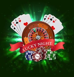 Casino Roulette with Red Ribbon Lucky night vector image