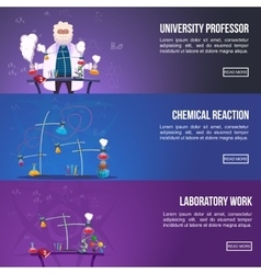 Chemistry Lab Colored Banner Set vector image vector image