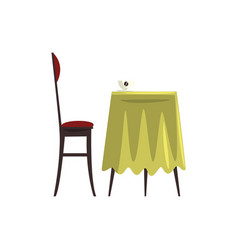 Coffee table with coffee cup and chair cartoon vector