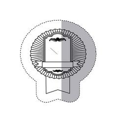contour emblem border form with ribbon icon vector image