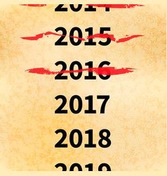 Crossed out years in 2017 calendar conceptual vector
