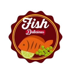 Delicious fish icon vector