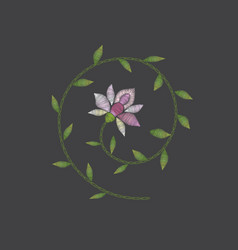 Embroidery floral design vector
