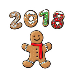 Gingerbread man cookie isolated vector