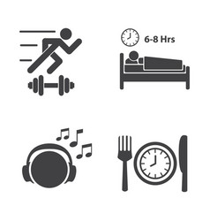 Good health icons set vector