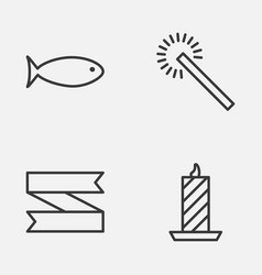 Happy icons set collection of fishing fire wax vector