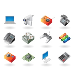 Isometric-style icons for electronics vector image