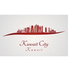 Kuwait city v2 skyline in red vector