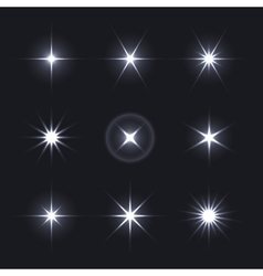 Light Glow Flare Stars Effect Set vector image