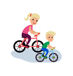mom and son riding bikes sport family and vector image