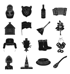 Russia country set icons in black style big vector