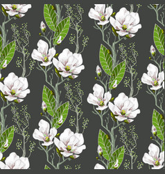 Seamless spring pattern with magnolias vector