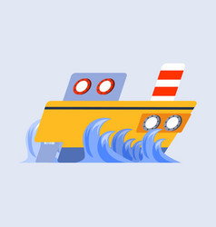 Ship flat skew icon vector