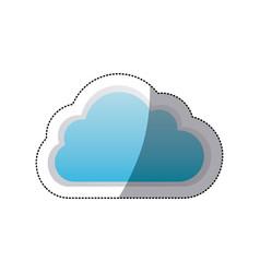Sticker cloud tridimensional in cumulus shape vector