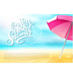 summer travel banner with sun umbrella vector image vector image