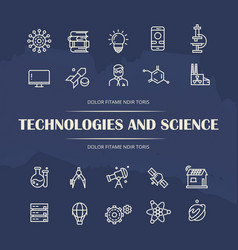 technologies and science line icons set on grunge vector image