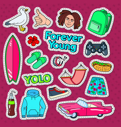 teenager lifestyle doodle with surf vector image